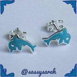 Dainty Sterling Silver Blue Enamel Dolphin Earring